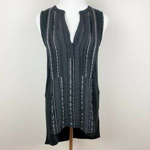 Anthropologie Deletta Tunic Top Black High Low S